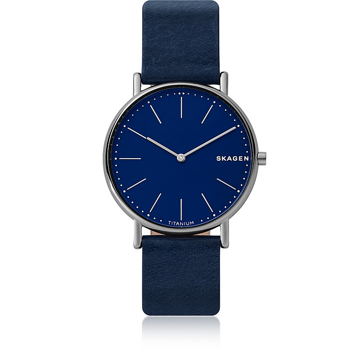 Signatur Slim Titanium Blue Leather Watch - Skagen