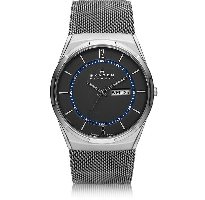 Melbye 灰色和蓝色钛金属男士手表 - Skagen