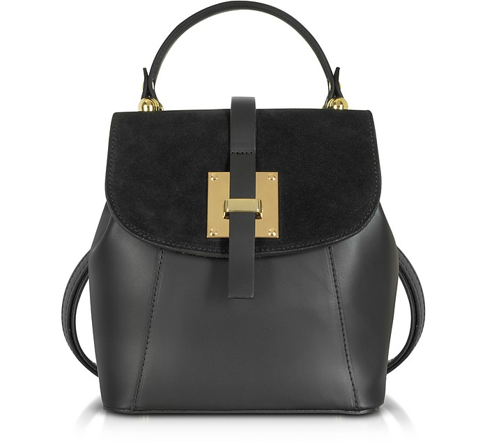 Palazia Black Suede and Leather Small Backpack - Gisèle 39