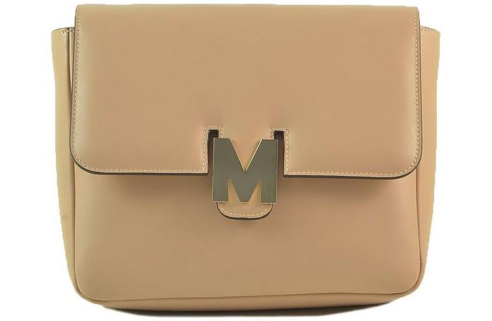 Beige Leather M Shoulder Bag - MSGM