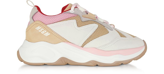 Attack Sneakers in Pelle e Mesh Nude - MSGM