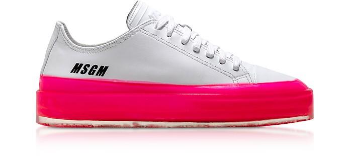 Floating Sneakers in Pelle con Suola Fucsia - MSGM