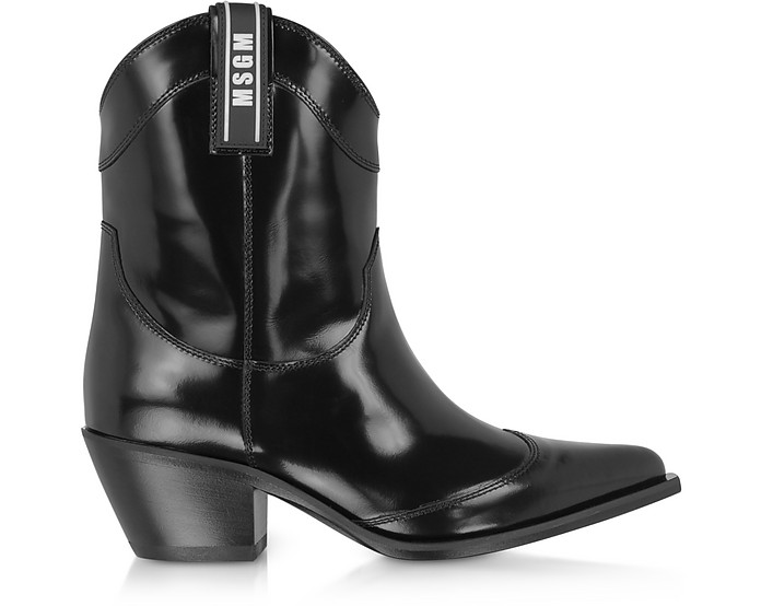MSGM Black Patent Leather Camperos Boots - MSGM