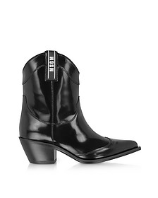 Black Patent Leather Camperos Boots