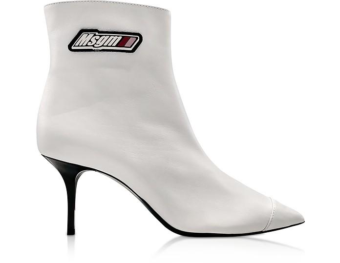 MSGM White Signature Anke Boots - MSGM