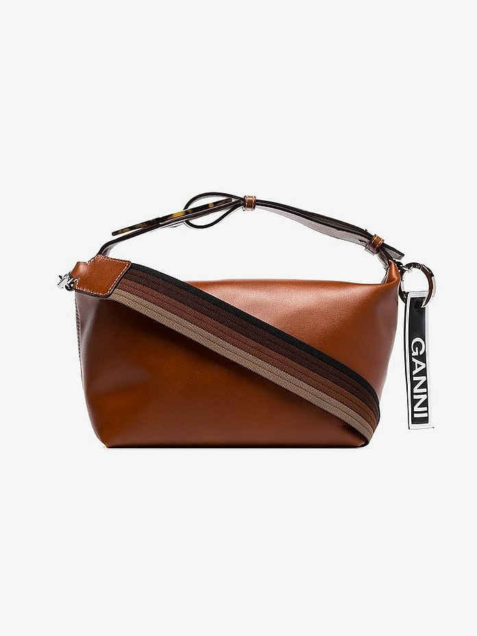 Brown Logo label leather shoulder bag - Ganni