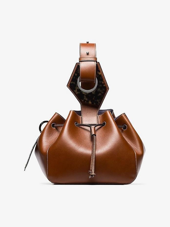 Ganni Accessories Brown Small Drawstring Bucket Bag