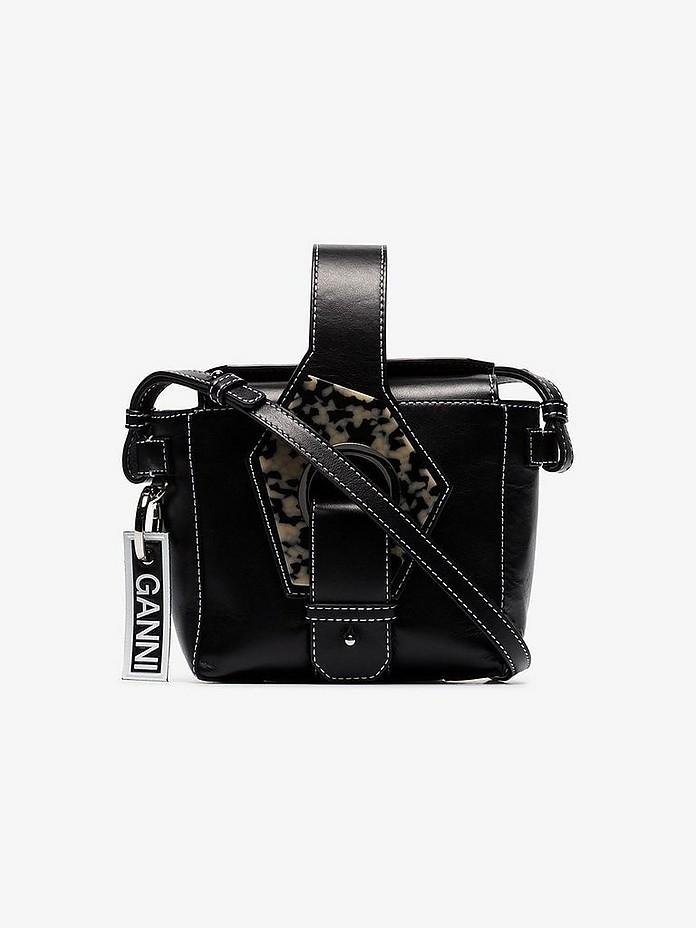 Ganni Accessories Black contrast stitch small leather bracelet bag