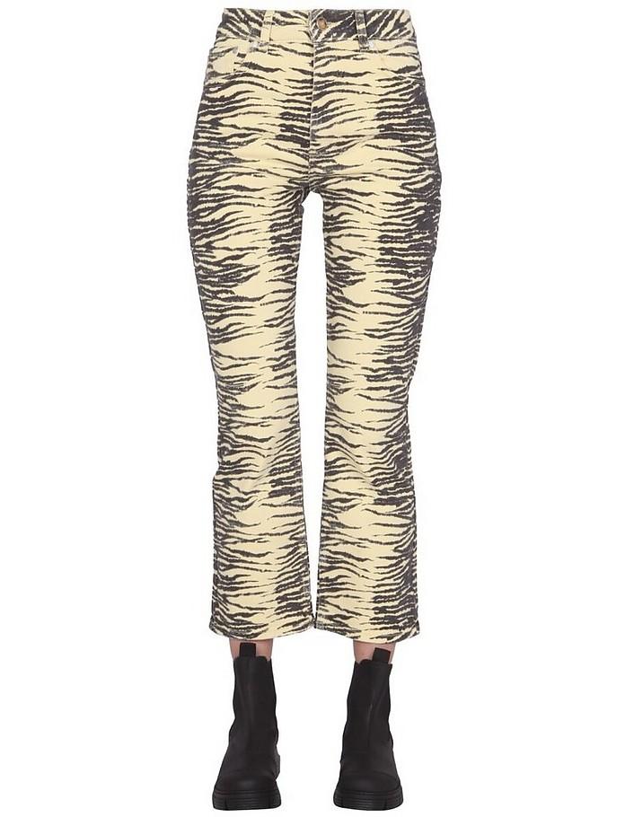 Yellow Zebra Print Slim Fit Jeans - Ganni