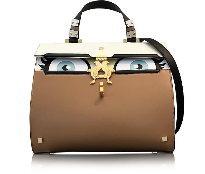 Peggy Beige Brushed Leather Eyes Bag - Giancarlo Petriglia