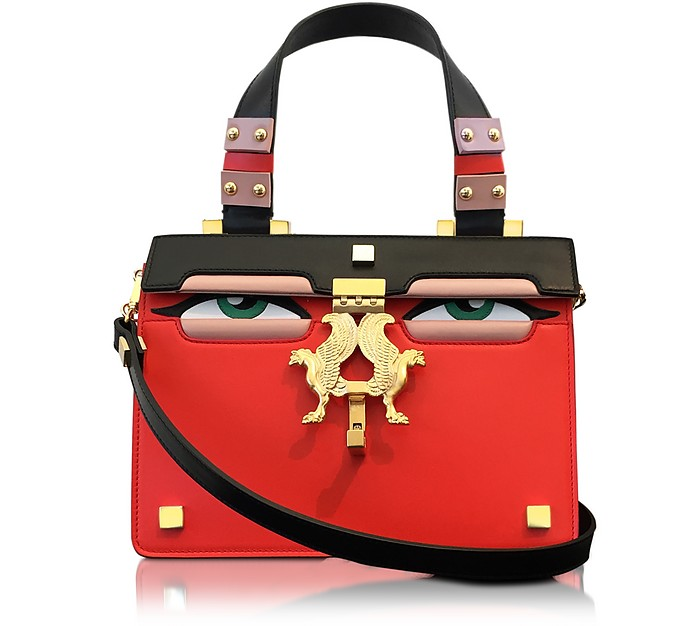 Mini Peggy Red Brushed Leather Eyes Bag - Giancarlo Petriglia