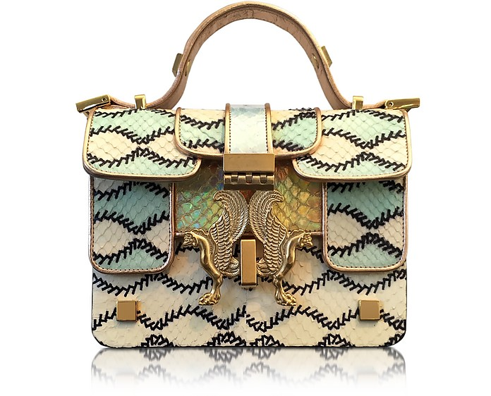 Romantic Multicolor Printed Elaphe Leather Mini P Bag - Giancarlo Petriglia