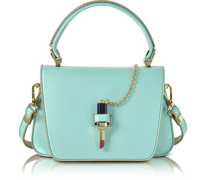 Sky Blue Leather Mini Queen Bag w/Lipstick - Giancarlo Petriglia