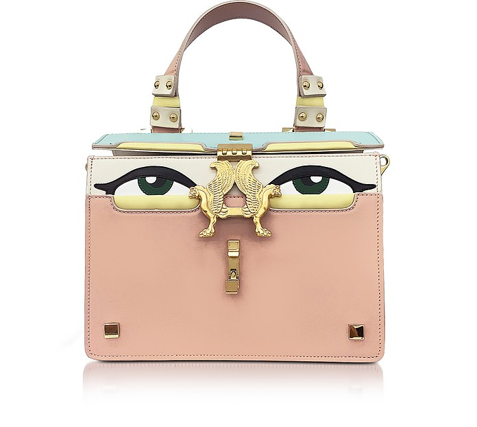 Powder Pink Leather Mini Peggy Eyes Satchel Bag - Giancarlo Petriglia