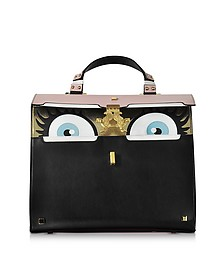 Peggy Black and Pink Brushed Leather Eyes Bag - Giancarlo Petriglia