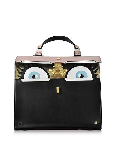 Peggy Black and Pink Brushed Leather Eyes Bag - Giancarlo Petriglia