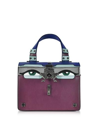 Purple Leather Mini Peggy Eyes Satchel Bag - Giancarlo Petriglia