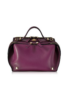 Purple Tumbled Leather Clari Bag w/Eye - Giancarlo Petriglia