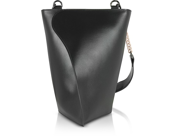 Black Layla Leather Shoulder Bag - Giaquinto