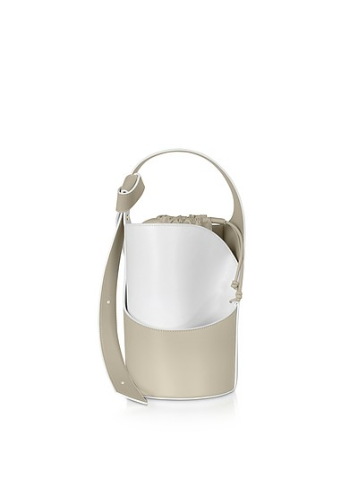 Lily Mini Egret White Bucket Bag - Giaquinto