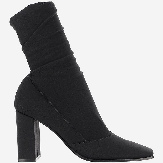 Black Stretch Fabric Ankle-Boots  - Gianvito Rossi