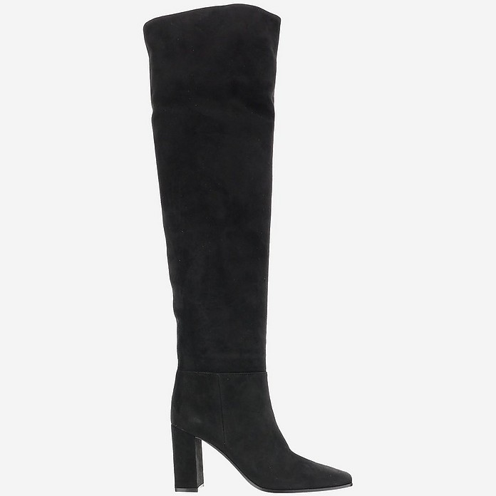 Black Suede Over-the-Knee Boots - Gianvito Rossi