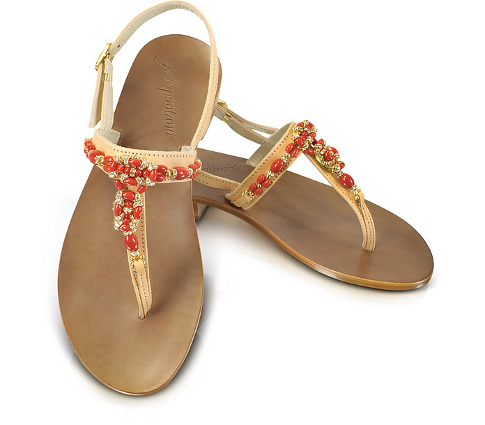 Red Jeweled Thong Sandal Shoes - Giallo Positano