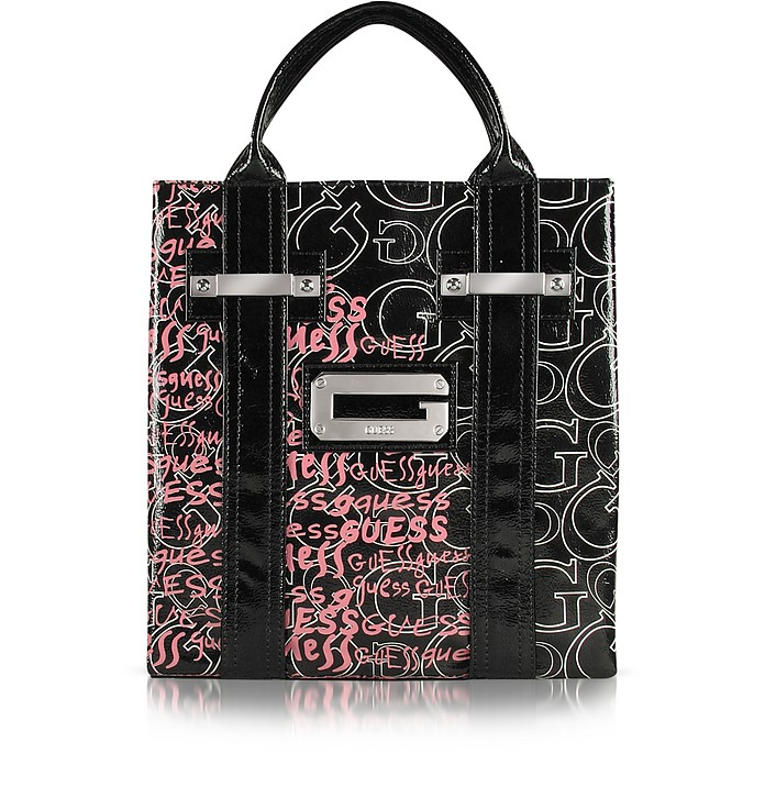 a8450bdc2c447 Guess Black Arm Candy Graffiti - Patent Small Tote Bag at FORZIERI UK