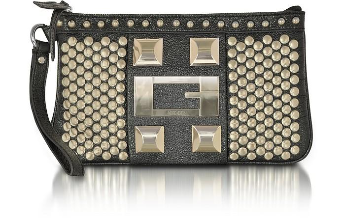 91bfa2a3d00d Guess Noir - Black Studded Wristlet Clutch at FORZIERI