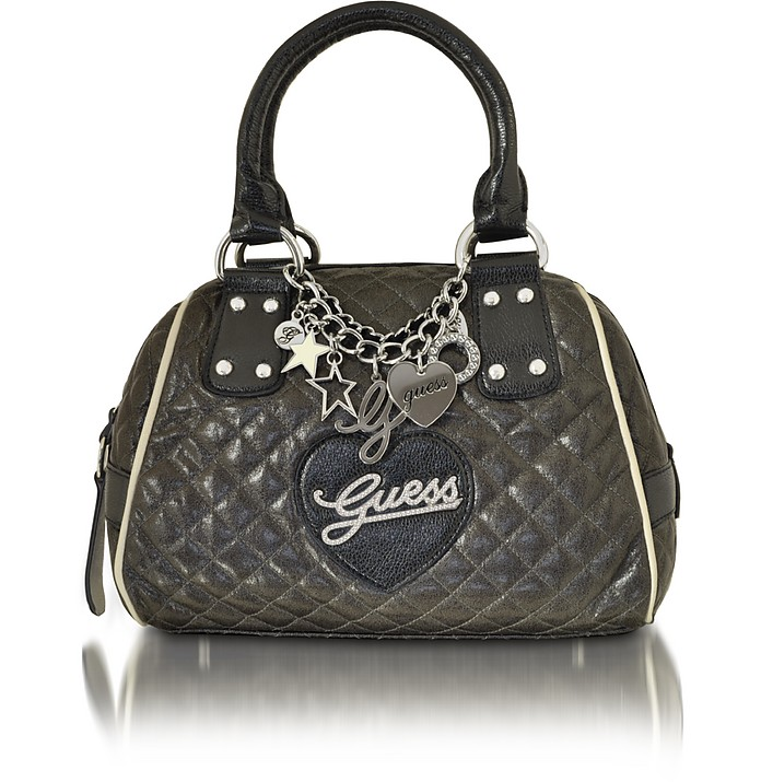 Old School Grey Quilted Bowler Bag