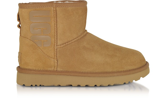 Chestnut Mini Classic Ugg Rubber Logo Boots - UGG