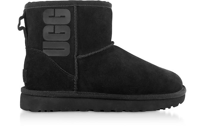 Black Mini Classic Ugg Rubber Logo Boots - UGG