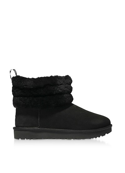 Black Fluff Mini Quilted Boots - UGG