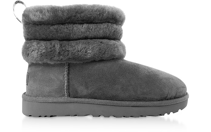 Charcoal Fluff Mini Quilted Boots - UGG