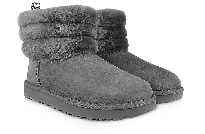 b4c0875c3fa Charcoal Fluff Mini Quilted Boots