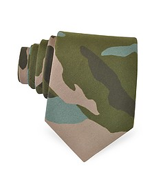 Camouflage Print Silk Narrow Tie