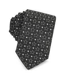 Black and White Multi Stars Printed Silk Narrow Tie - Givenchy
