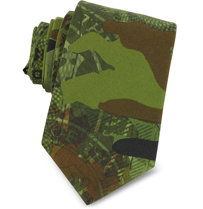 Green Camouflage and Money Printed Cotton Narrow Tie - Givenchy