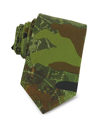 be98c629 Green Camouflage and Money Printed Cotton Narrow Tie - Givenchy