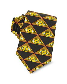 Eyes and Triangles Printed Cotton Narrow Tie - Givenchy