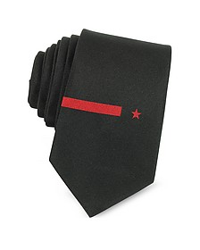 Black Solid Twill Silk Narrow Tie w/Red Star and Band Embroidery - Givenchy