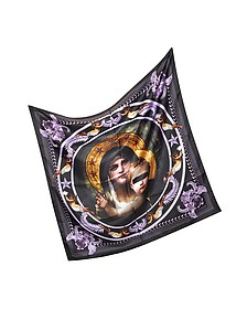 Madonna and Angeles Print Silk Square Scarf