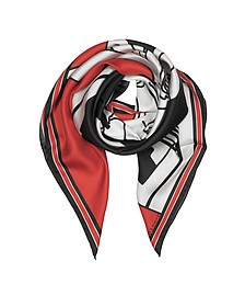 Bambi Print Red Silk Square Scarf - Givenchy