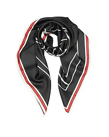 Bambi Print Black Silk Square Scarf - Givenchy