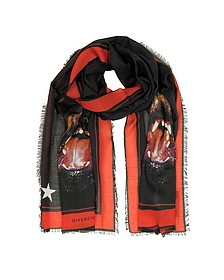 Rottweiler Printed Chasmere and Silk Stole - Givenchy