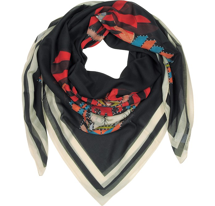 Geometric Rottweiler Printed Cotton and Silk Stole - Givenchy