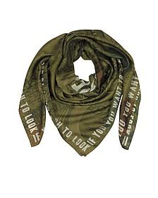 Kefiah in Cotone e Seta Verde  - Givenchy