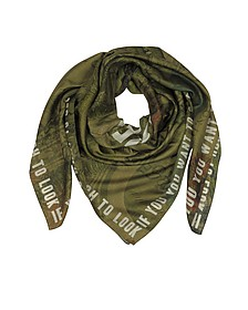 Green Cotton and Silk Signature Wrap - Givenchy