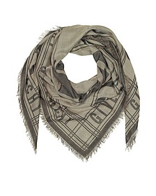 Gray Woven Cotton, Wool and Silk Signature Wrap - Givenchy