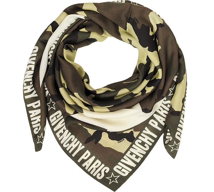 Green Camouflage Stars Printed Wool and Silk Wrap - Givenchy